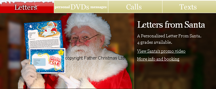Click here for personalised letters, phone calls, dvds and text messages from santa
